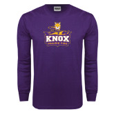 Purple Long Sleeve T Shirt-Praire Fire Mascot Logo