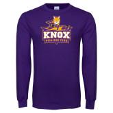 Purple Long Sleeve T Shirt-Knox Mascot Logo