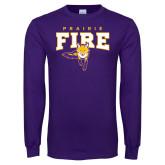 Purple Long Sleeve T Shirt-Praire Fire Mascot Logo