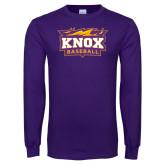 Purple Long Sleeve T Shirt-Baseball