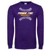 Purple Long Sleeve T Shirt-Prairie Fire Baseball w/Seams