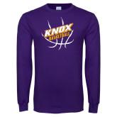 Purple Long Sleeve T Shirt-Knox Basketball w/Ball