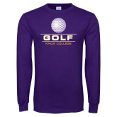 Purple Long Sleeve T Shirt-Knox College Golf Stacked w/Ball