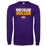 Purple Long Sleeve T Shirt-Knox College Soccer Stacked