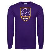 Purple Long Sleeve T Shirt-Knox Soccer Shield