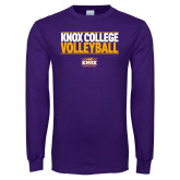 Purple Long Sleeve T Shirt-Knox College Volleyball Stacked