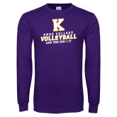 Purple Long Sleeve T Shirt-Knox College Volleyball Can You Dig It