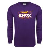 Purple Long Sleeve T Shirt-Knox College Logo