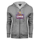 ENZA Ladies Grey Fleece Full Zip Hoodie-Knox Mascot Logo