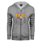 ENZA Ladies Grey Fleece Full Zip Hoodie-Praire Fire Mascot Logo