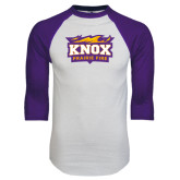 White/Purple Raglan Baseball T Shirt-Prairie Fire Logo