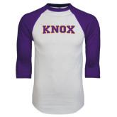 White/Purple Raglan Baseball T Shirt-Knox