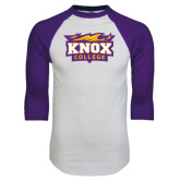 White/Purple Raglan Baseball T Shirt-Knox College Logo