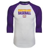 White/Purple Raglan Baseball T Shirt-Knox College Baseball Stacked