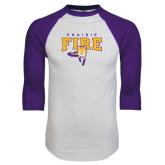 White/Purple Raglan Baseball T Shirt-Praire Fire Mascot Logo