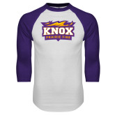 White/Purple Raglan Baseball T Shirt-Prairie Fire Logo