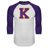 White/Purple Raglan Baseball T Shirt-K