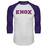 White/Purple Raglan Baseball T Shirt-Knox