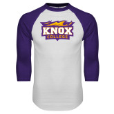 White/Purple Raglan Baseball T Shirt-Knox College Logo