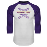 White/Purple Raglan Baseball T Shirt-Prairie Fire Baseball w/Seams