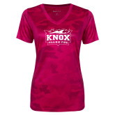 Ladies Pink Raspberry Camohex Performance Tee-Prairie Fire Logo
