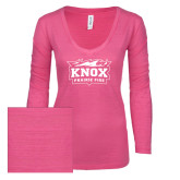 ENZA Ladies Hot Pink Long Sleeve V Neck Tee-Prairie Fire Logo