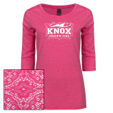 Ladies Dark Fuchsia Heather Tri Blend Lace 3/4 Sleeve Tee-Prairie Fire Logo