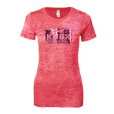 Next Level Ladies Junior Fit Fuchsia Burnout Tee-Prairie Fire Logo Foil
