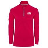 Ladies Pink Raspberry Sport Wick Textured 1/4 Zip Pullover-Prairie Fire Logo