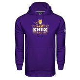 Under Armour Purple Performance Sweats Team Hood-Knox Mascot Logo