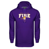 Under Armour Purple Performance Sweats Team Hood-Praire Fire Mascot Logo