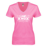 Next Level Ladies Junior Fit Deep V Pink Tee-Prairie Fire Logo
