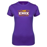 Ladies Syntrel Performance Purple Tee-Prairie Fire Logo