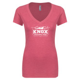 Next Level Ladies Vintage Pink Tri Blend V-Neck Tee-Prairie Fire Logo