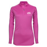 Ladies Syntrel Interlock Raspberry 1/4 Zip-Prairie Fire Logo