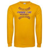 Gold Long Sleeve T Shirt-Prairie Fire Baseball w/Seams