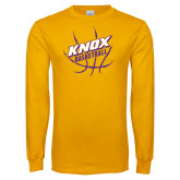 Gold Long Sleeve T Shirt-Knox Basketball w/Ball