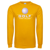 Gold Long Sleeve T Shirt-Knox College Golf Stacked w/Ball