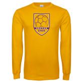 Gold Long Sleeve T Shirt-Knox Soccer Shield