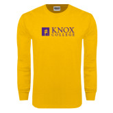 Gold Long Sleeve T Shirt-Institutional Logo