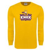 Gold Long Sleeve T Shirt-Knox Mascot Logo