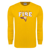 Gold Long Sleeve T Shirt-Praire Fire Mascot Logo