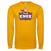 Gold Long Sleeve T Shirt-Knox Mascot Logo