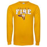 Gold Long Sleeve T Shirt-Praire Fire Mascot Logo