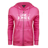 ENZA Ladies Fuchsia Fleece Full Zip Hoodie-Prairie Fire Logo
