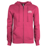 ENZA Ladies Fuchsia Fleece Full Zip Hoodie-Prairie Fire Logo
