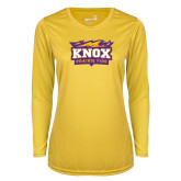 Ladies Syntrel Performance Gold Longsleeve Shirt-Prairie Fire Logo