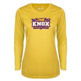 Ladies Syntrel Performance Gold Longsleeve Shirt-Prairie Fire Logo