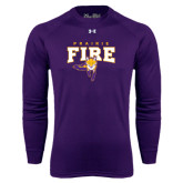 Under Armour Purple Long Sleeve Tech Tee-Praire Fire Mascot Logo