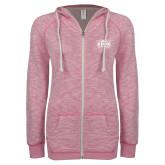ENZA Ladies Hot Pink Marled Full Zip Hoodie-Prairie Fire Logo
